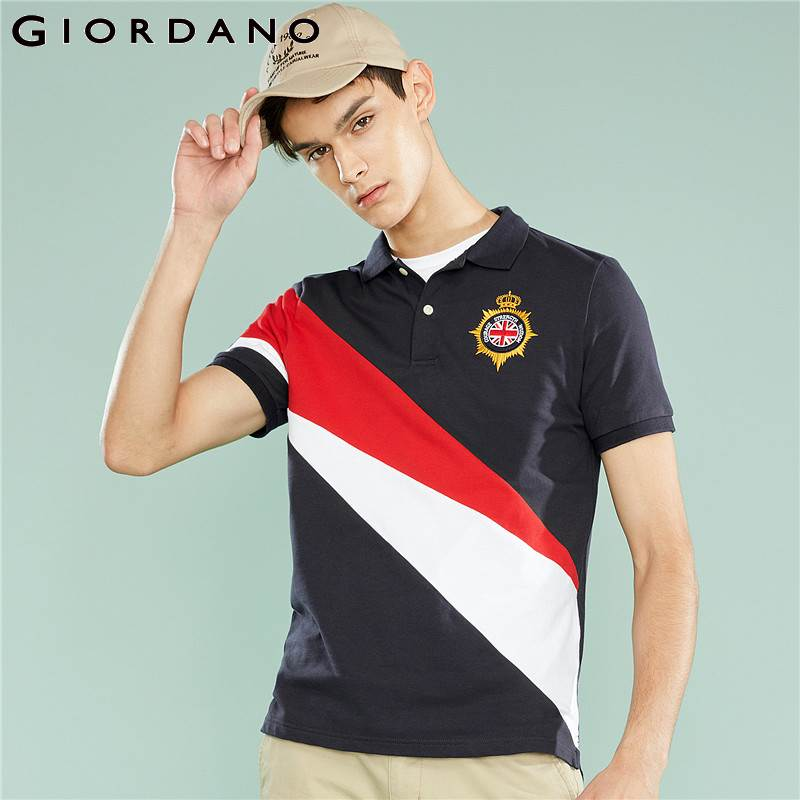 Giordano Men   Polo   Shirts Men Stretchy Fabric Embroiderey Pattern Slim Fit England Style   Polo   Men Shirt Gentlemen Shirt Hombre