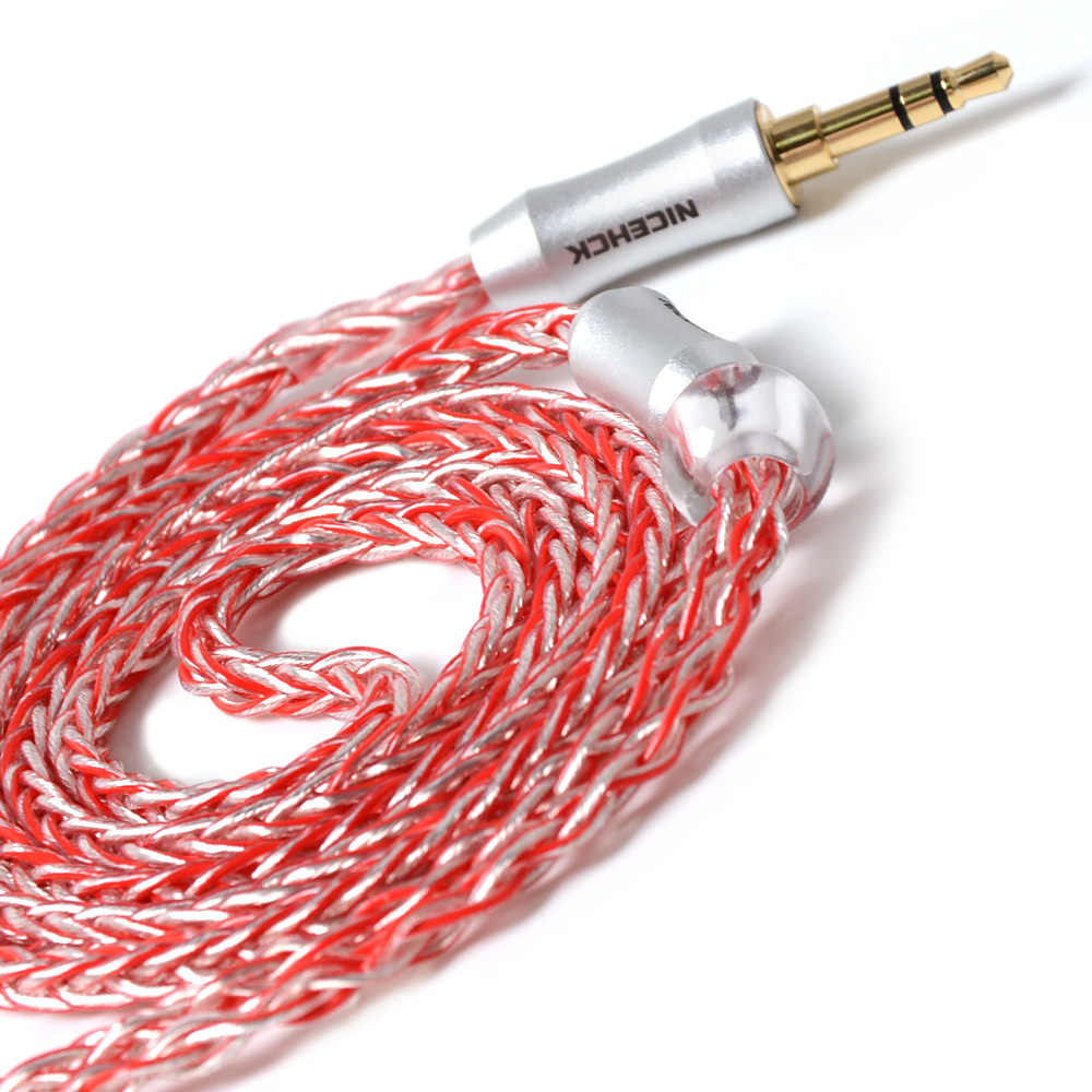 NICEHCK MMCX/2Pin złącze 3.5/2.5/4.4mm wyważone 8 rdzeń posrebrzane kabel do TRN V90 ZS10/ZSX C10/C12 NICEHCK NX7/M6/DB3