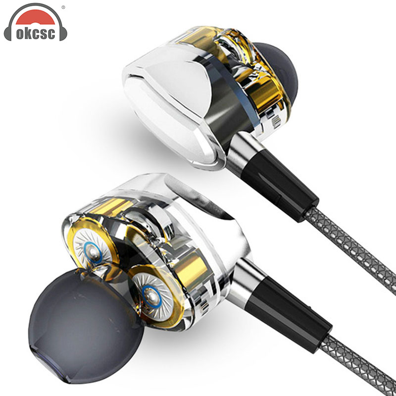 OKCSC G2 Dynamic Driver Earphones Piston Deep Bass HIFI Perfect Sound Quality Subwoofer In-Ear Earbuds With Mic цены онлайн