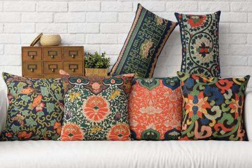 Ethnic Aztec Linen Cushions Cover Chinese Oriental Decorative Throw Pillows  Cases Vintage Floral Home Decor Lumbar