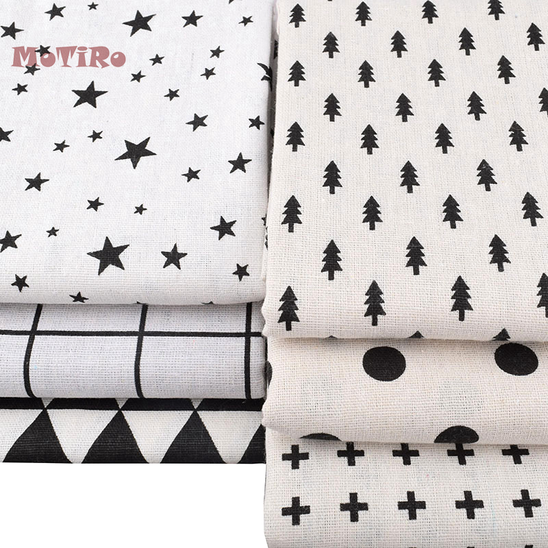 Apparel Sewing & Fabric Motiro,half Meter,printed Cotton Linen Fabric,black&white Pattern Cloth For Quilting/sewing/sofa/table/curtain/bag/cushion/diy Delaying Senility
