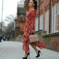 Seifrmann Runway designer 100% Silk long dress women Sexy V Neck boho Floral print Ruffles Vacation dresses