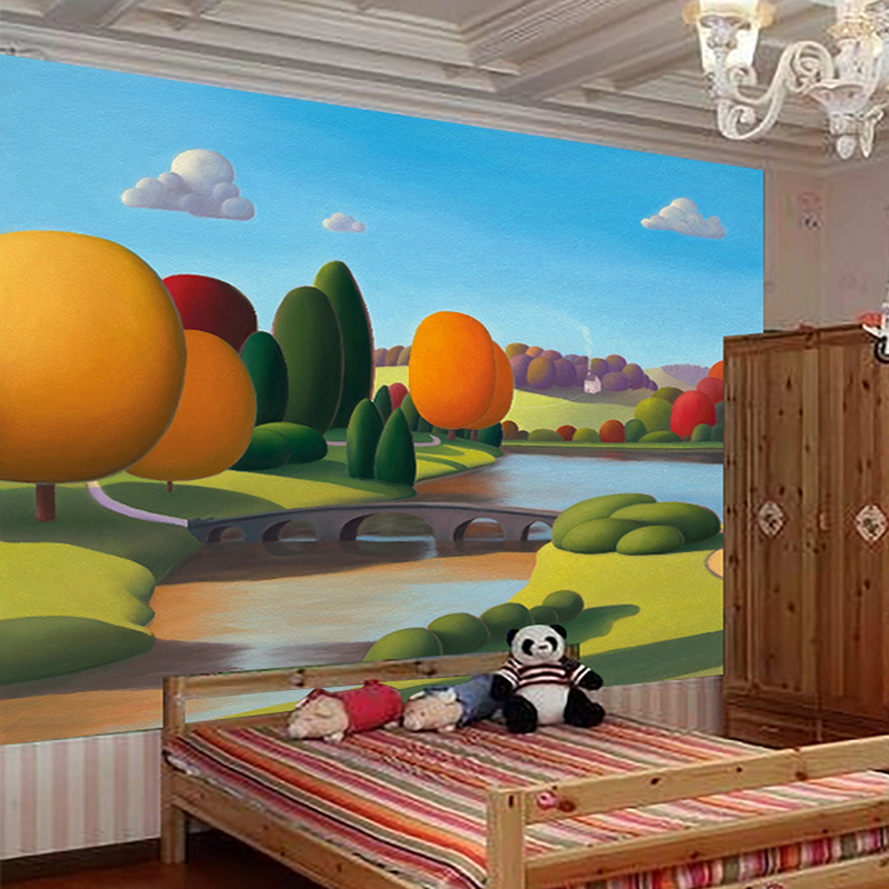 Custom 3D Wall Murals Wallpaper HD Hand Painted Art Landscape Oil Painting  Cartoon Kids Room Background Wall Paper Mural Photo In Wallpapers From Home  ... Part 51