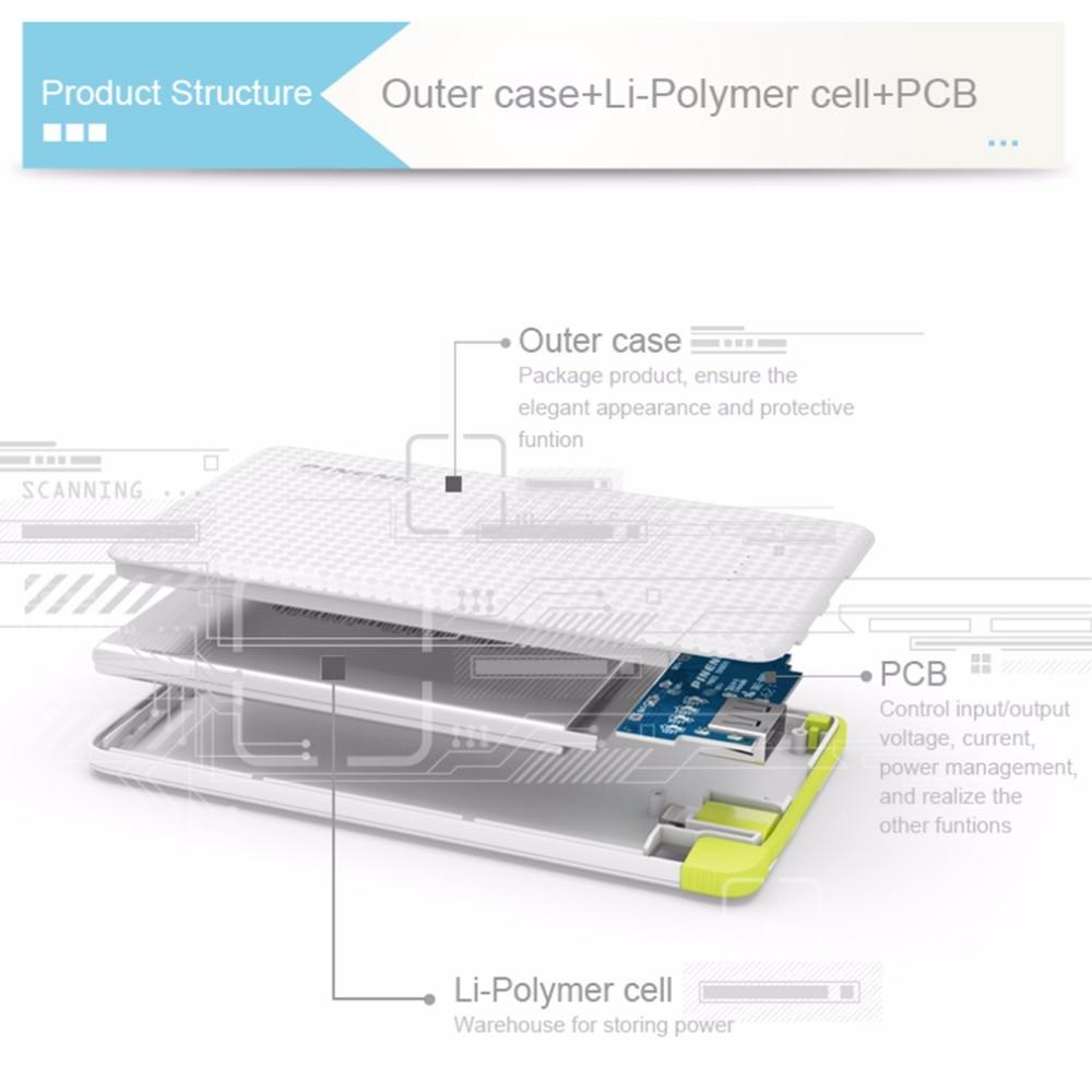 Original 5000 mah pineng banco móvil de carga rápida batería externa portátil ca
