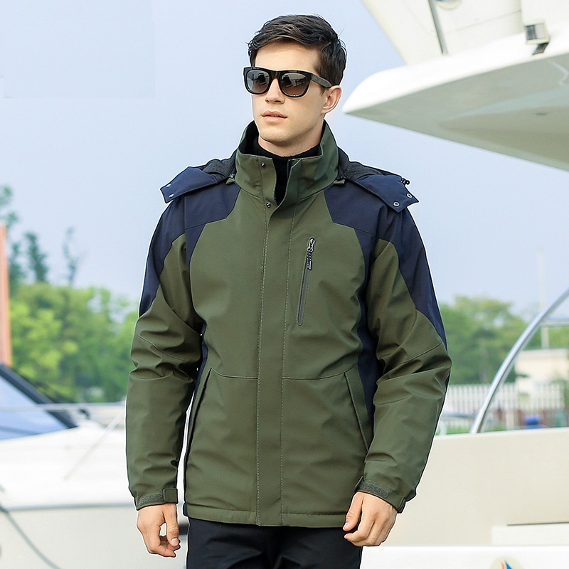 Men's 90% Duck   Down   Jacket Warm   Down     Coat   with Hat Detachable for Men Male 8781
