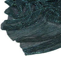 New Emerald Green Metallic Color Electro optic Accordion Pleated Fabric Shiny Silk Crinkle Fabric for Dress Headdress African