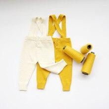 INS Infantile Enfants Bébé Laine de Coton Tricoté Bretelles Pantalon De Mode Bébé Fille et garçon Automne Vêtements