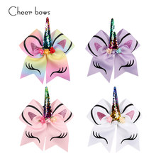 7'' Large Sequin Horse Horn Cheer Bows Glitter Print Flower Hair Bow With Elastic Hair Bands For Children Girls Hair Accessories(China)
