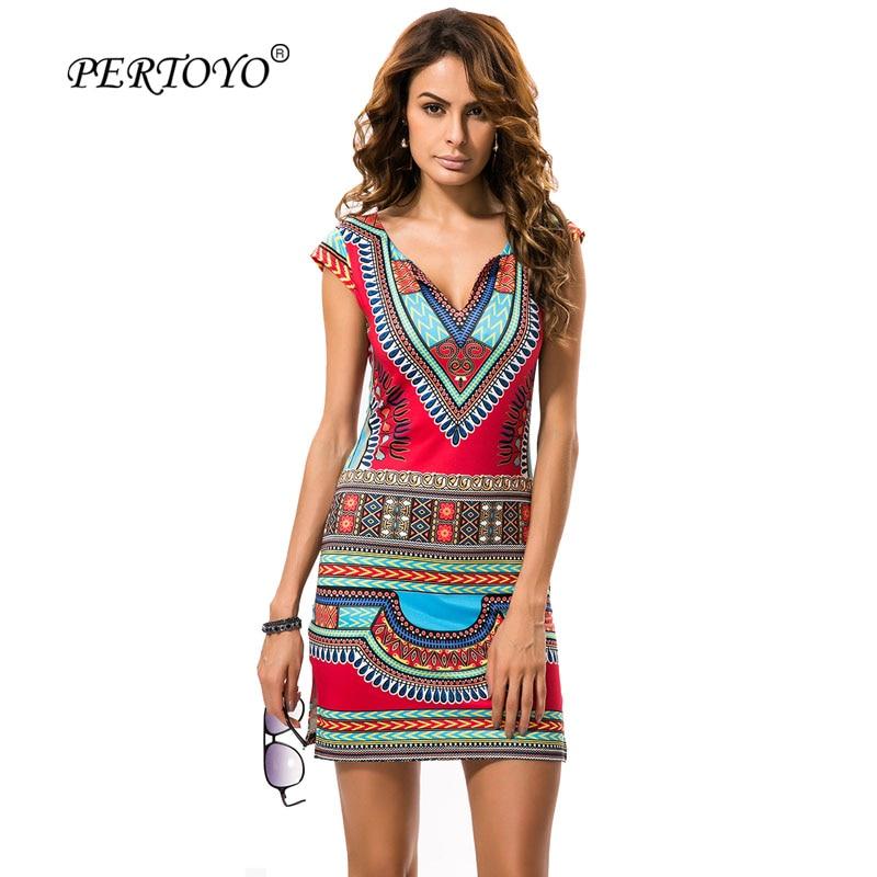 Pertoyo Women Dashiki Dress 2017 Ladies Short V Neck Sexy -7785