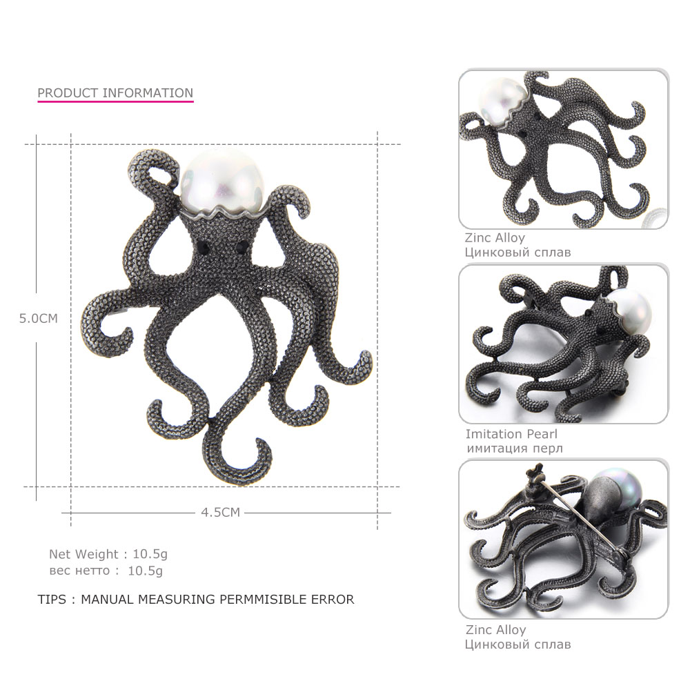 Mloveacc Vintage jedinstveni broševi od hobotnice za žene retro - Modni nakit - Foto 4