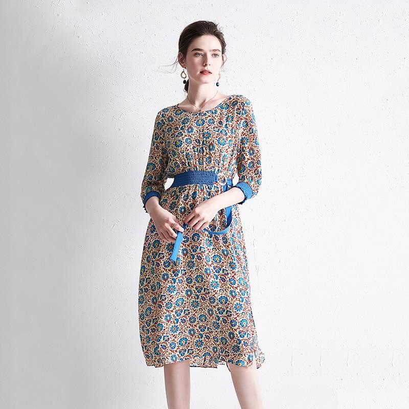 floral silk plus size summer dress vintage robe strand boho bohemian casual dresses dames 2019 women summer waist belt elegant