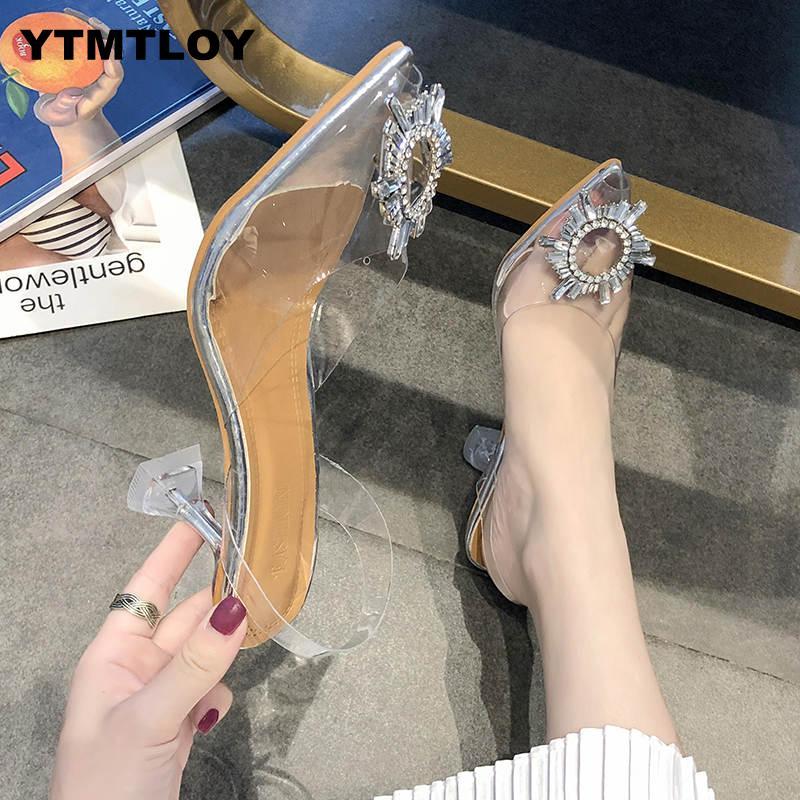 Luxe femmes pompes 2019 Transparent talons hauts Sexy bout pointu sans lacet fête de mariage marque chaussures de mode pour dame PVC