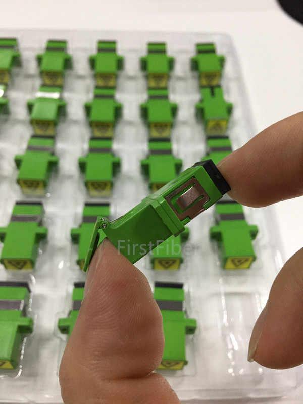 Sc/apc stecker auto shutter sidewise staub kappe simplex grün kunststoff gehäuse mit flansch faser sc apc adapter