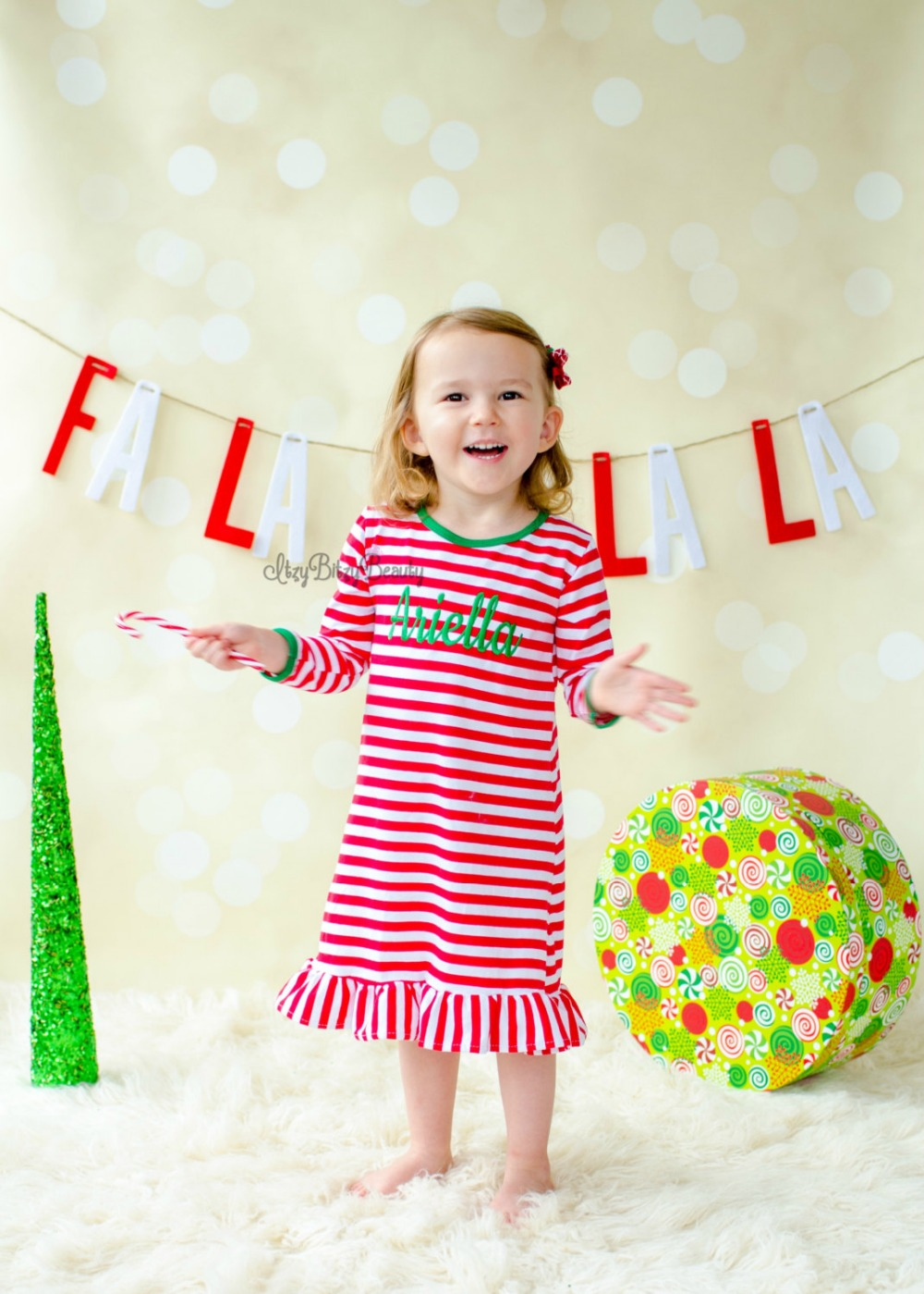 Girls-Christmas-Nightgown-Ruffle-Dress-Girls-Christmas-Pajamas-Red-And-White-Stripe-personalized-custom-initial-monogram-Dress-4