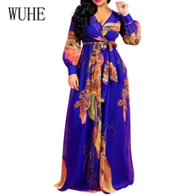 WUHE Autumn Elegant Floral Printed Chiffon Floor-length Maxi Dress Women Casual Lace Up Hollow Out Kyliejenner
