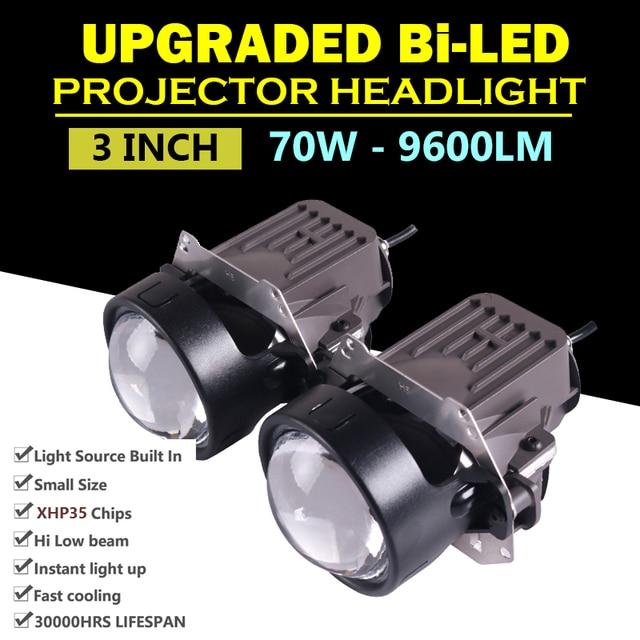 "Universal Super Bright 3"" inch 9600LM Bi LED Projector Headlight Lens Hi/Lo Beam Car HID Bixenon H4 H7 Headlight Conversion Kits"