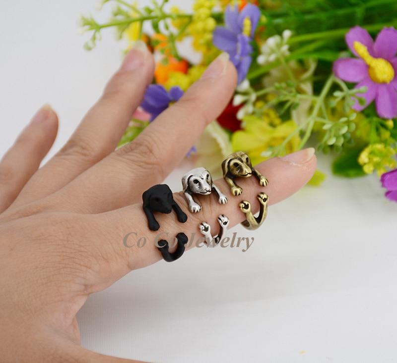 1 шт Винтаж хиппи латунной костяшки колбаса собака Любовь Кольцо Boho Такс Анель Masculino кольца для Для женщин Anillos Для мужчин ювелирные изделия