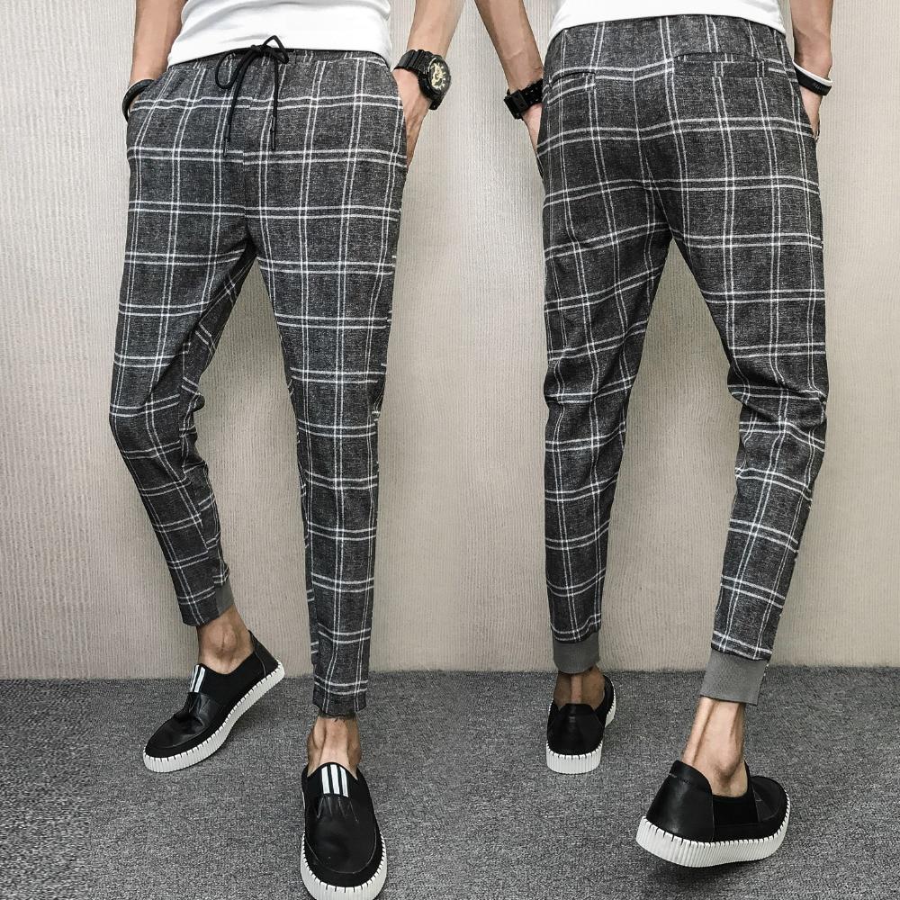 Iselinstorm Comprar Pantalones De Tela Escocesa Verano Marca Coreana Para Hombre Haren Ajustados Casual Con Cordon Todos Los Ropa Calle Hombre 2018 Online Baratos