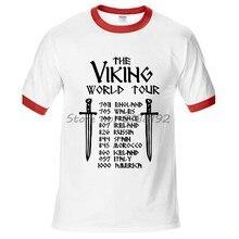 O VIKING TURNÊ MUNDIAL ringer tops t-shirt de algodão CAMISA dos homens T  marca 7d8d7201a661b