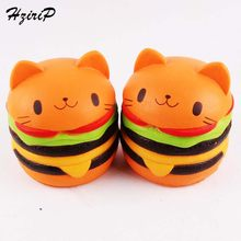 HziriP New Arrivals 1PCS Cute Squishy Food Soft Cat Hamburgers Decorating Squishy Slow Rising Kids Fun Toy Birthday Gifts(China)