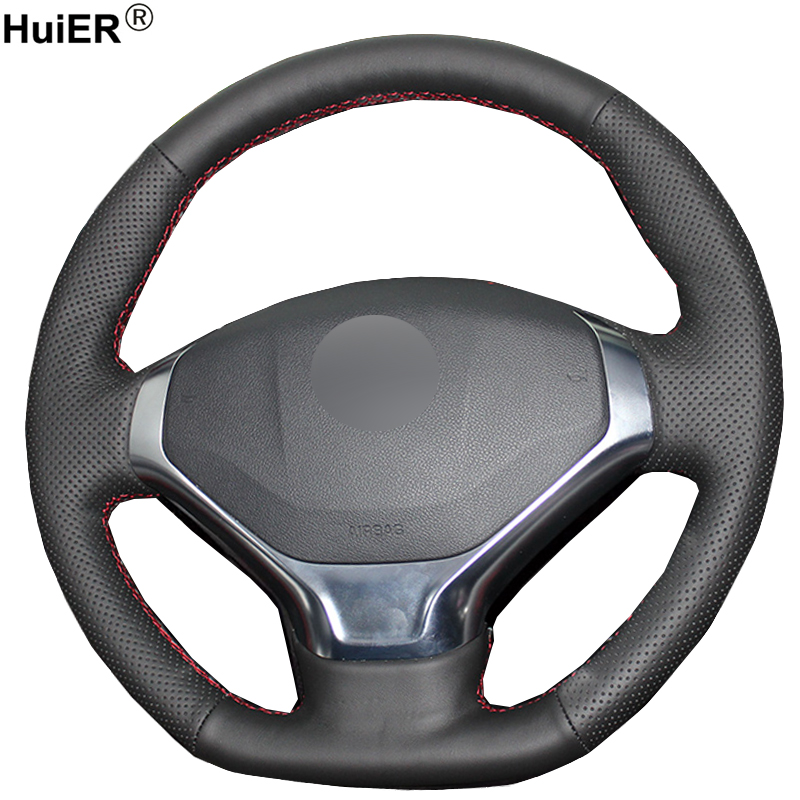 HuiER Hand Sew Car Steering Wheel Cover Wear-resistant Black Leather For Peugeot 3008 2013-2015 Steering-wheel Auto Car Styling