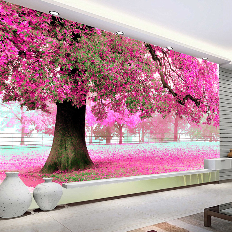 Custom Wall Cloth Mural De Parede Romantic Cherry Flower Tree 3D Large Murals Living Room Bedroom Home Decor Wallpaper For Wall