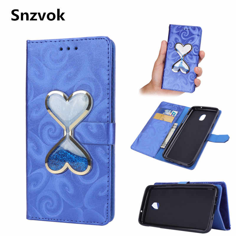 8bded0c39 Snzvok pu leather Double Heart Hourglass Flip Phone Case for Samsung galaxy  S9 plus J2 PRO