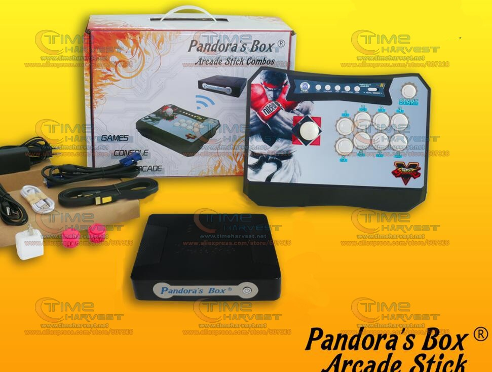 1 Player Wireless Arcade Game Controller Joystick kit built-in Pandora Box 5 960 in 1 PCB for XBOX360 PS3 PC Fighting Games 2018 new joystick consoles with multi game pcb board 960 in 1 pandora box 5 arcade joystick game console double controllers