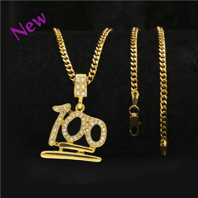 Chain 100 score mens necklaces pendants gold color iced out chain 100 score mens necklaces pendants gold color iced out rhinestones pendant with 24inch link holiday aloadofball Choice Image
