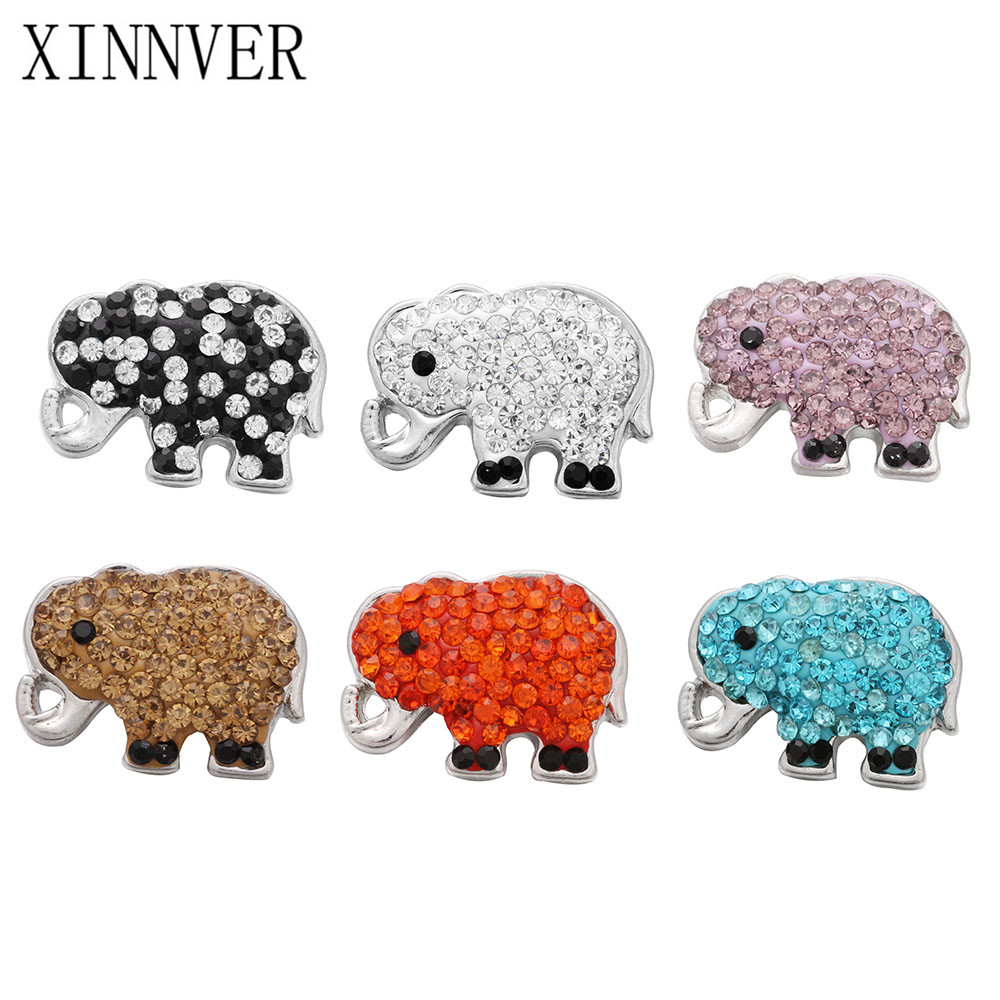 10pcs/lot High Quality Snap Jewelry Crystal Elephant Snap Buttons Fit 18mm Snap Bracelet Bangle for DIY Women Men Jewelry