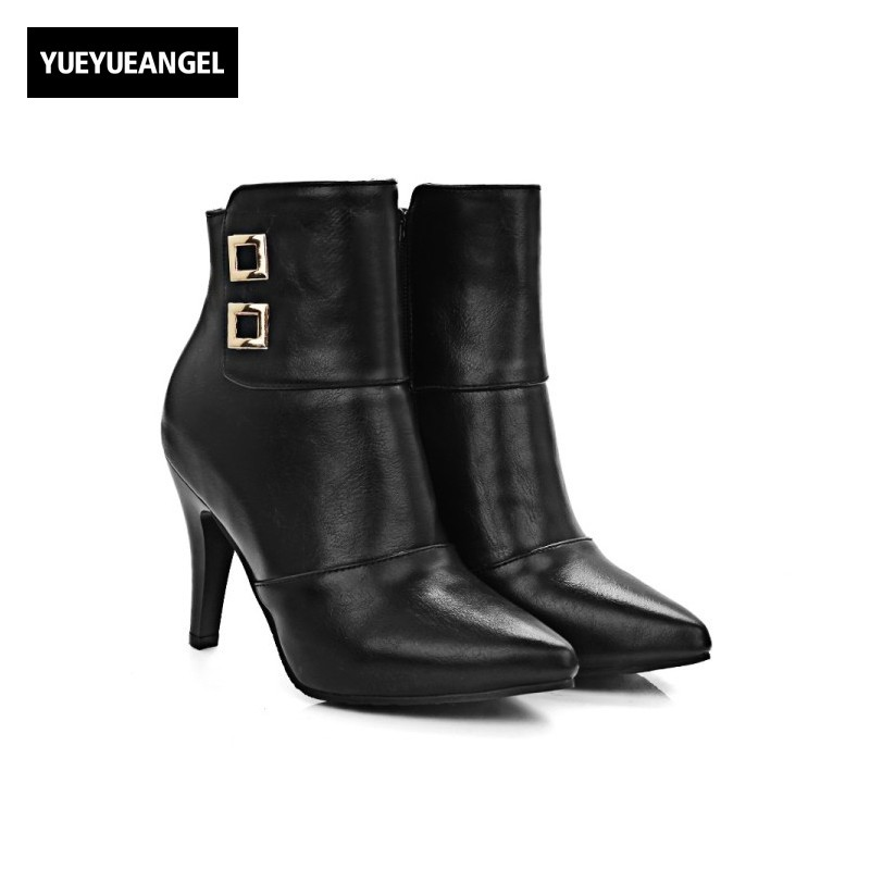 Handsome Retro Patent Leather Side Zip Fashion Motorcucle Boots Womens Autumn Super High Stiletto Heels Metal Design Botas Black