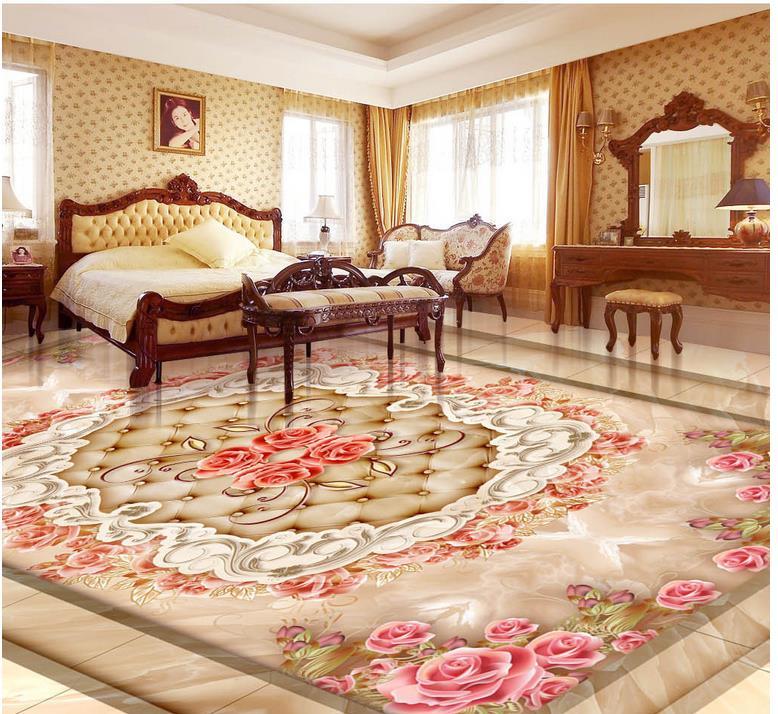 ФОТО 3d wallpaper waterproof Marble rose lace 3D floor pvc self-adhesive wallpaper Home Decoration