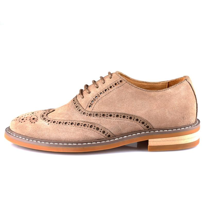 Chaussures Véritable Lacets En Masculino Richelieu Homme Talon black D'affaires gray Bout Khaki D'aile Cuir Sapato Hommes De Britannique Décontracté Vintage Rétro Bloc q8Sdq