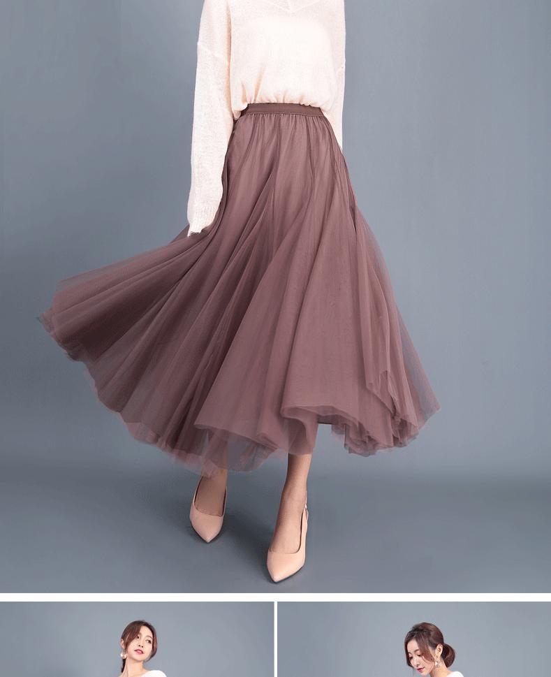 Jielur Autumn 3 Layers Princess Tulle Skirts Vintage Solid Color Mesh Women Skirt Pleated A-line Saia Female Jupe Tutu Skirts 11
