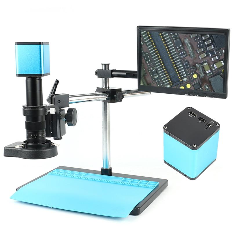 AutoFocus SONY IMX290 Sensor Ajustável 180X HDMI WIFI Câmera De Vídeo Microscópio Set Lab Industrial PCB CPU Sistema de Trabalho De Solda
