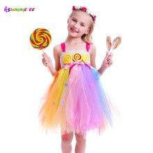 Детское платье-пачка для девочек с изображением леденца; милое Радужное платье для дня рождения; Детский костюм-пачка ярких цветов; пышное платье принцессы