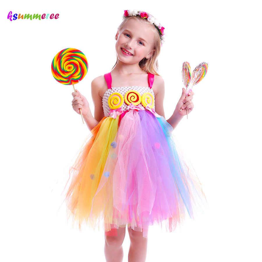 2a73d63da Caramelo Lollipop Girls Kids Tutu vestido dulce Arco Iris vestido de  cumpleaños Candy Land niños tutú