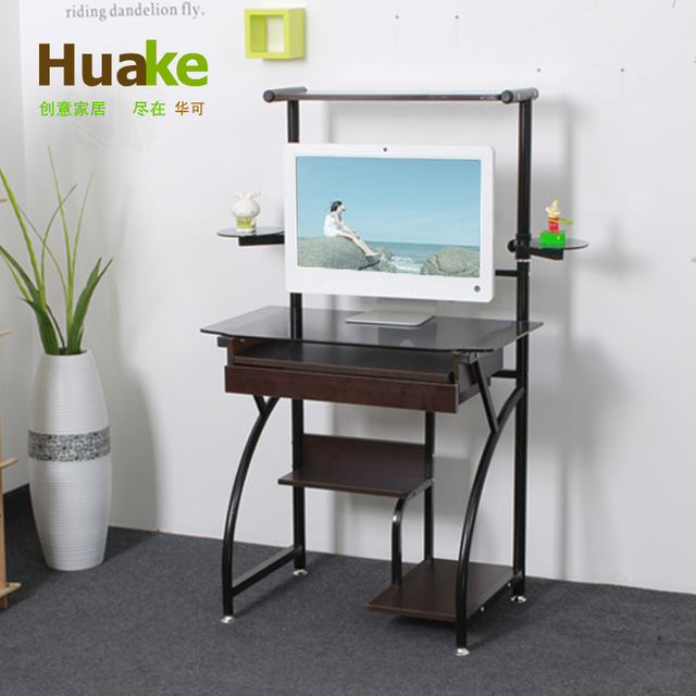 china can 8mm tempered glass computer desk with speakers 75cm long
