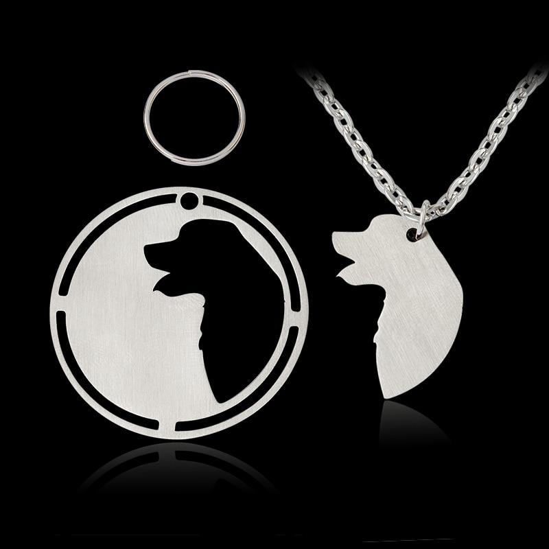 2 gab. / Komplekts Siluets Zeltainais retrīvers Lielo Pireneju kulonu kaklarota suņu īpašniecei sievietēm Vīriešiem Sudraba suņa birka Mājdzīvnieku rotas