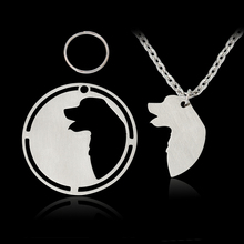 2 pcs/set Silhouette Golden Retriever Great Pyrenees Pendant Necklace For Dog Owner Women Men Silver Dog Tag Pet Animal Jewelry