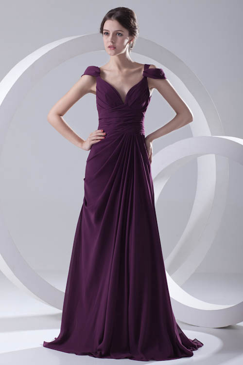 Babyonlinedress Purple Chiffon Long   Bridesmaid     Dresses   Sexy V Back Cap Sleeve Wedding Guest   Dress   Robe Demoiselle D'honneur