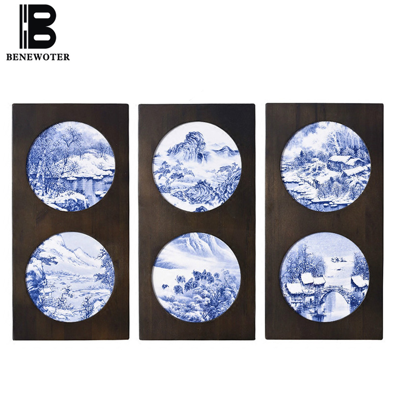 Chinese Style Blue and White Porcelain Plate Wall Decoration Home Vintage Crafts Hand Painted Landscape Art Wall Board Painting
