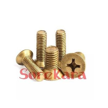 M2*0.4 M2.5*0.45 M3*0.5 Length 4/5/6/8/10/12/16/20/25/30mm Brass Countersunk Head Phillips Screws image