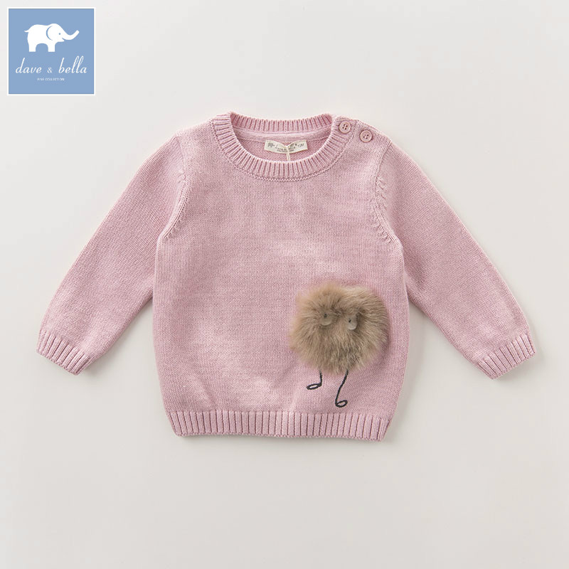 DB6102 dave bella autumn newborn baby girls wool pullover tops infant clothes toddler children knitted Sweater