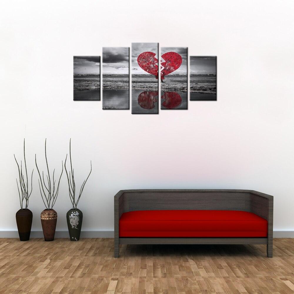 Paisaje pared arte Corazón Roto árbol romance amor corazón rojo y ...
