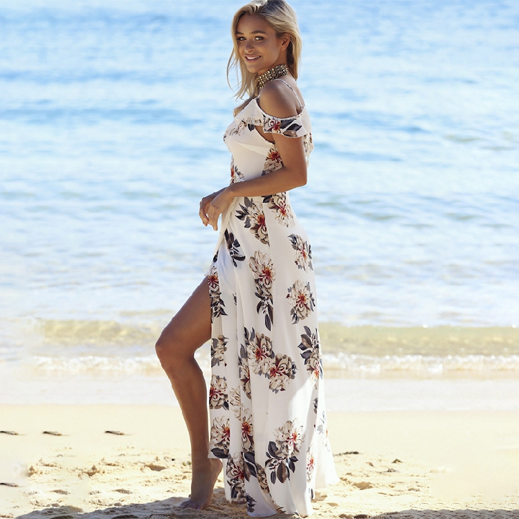 Bohemian Floral Maxi Dress For Womens