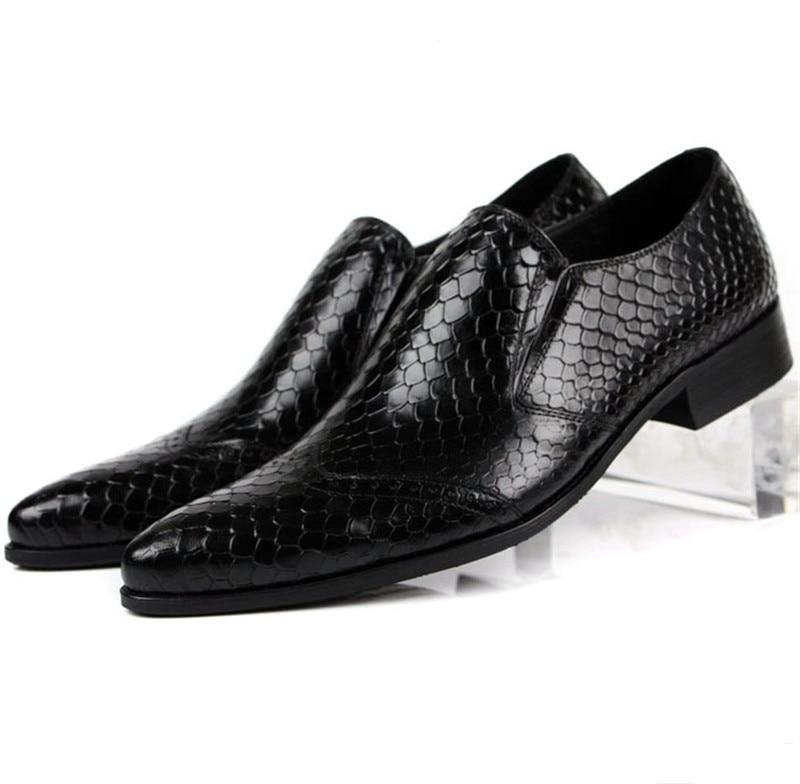 Ukuran besar EUR45 Mode Serpentine formal mens sepatu kulit asli sepatu bisnis mens sepatu pesta pernikahan