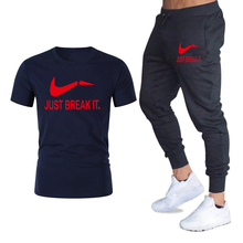 Hot Sale Men t shirt Set Fashion 2019 Summer cotton short sleeve Sporting Suit T-shirt +Pants Mens 2 Pieces Sets casual clothing