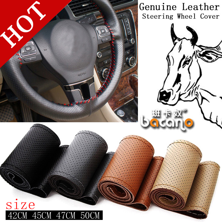 Hot Truck Bus Genuine Leather Steering Wheel Cover, 42cm 45cm 47cm Car,DIY Handmade Case With Needles and Thread Free Shipping