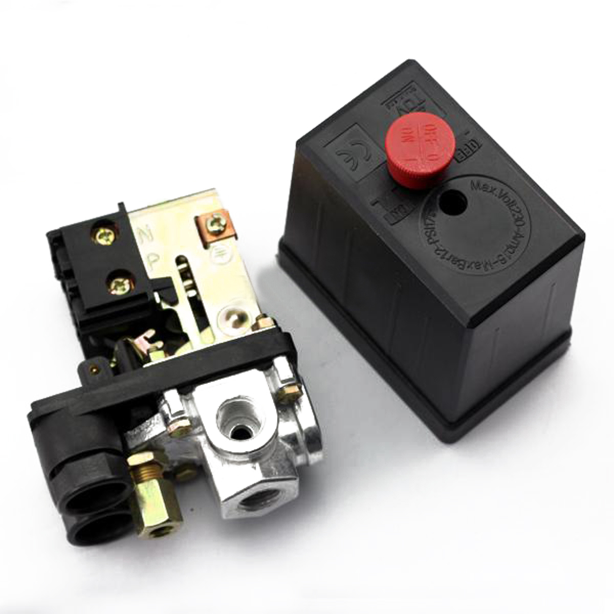 Black Heavy Duty Air Compressor Pressure Switch 240V 16A 90PSI -120PSI Mayitr Practical Auto Switch Control Valve 82*82*52mm 120psi air compressor pressure valve switch manifold relief regulator gauges